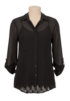 Just bought this! High-Low Lace Back Chiffon Blouse - maurices.com