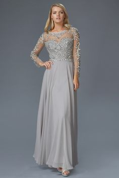 G2129 Sheer Illusion Sleeved Chiffon Mother of Bride Dress Evening Gown