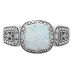 Cushion-Cut Opal White Gold Diamond Filigree Vintage Style Ring Available Exclusively at Gemologica.com Valentine's Day 2017 #Jewelry #Gift #Ideas for #Him #Her Kids. #Gemologica has simple, unique #gifts for boyfriend, girlfriend, couples including #rings #earrings #bracelets #necklaces #pendants #Jewellery #couponcode #deals #sale #Presents for #girlfriends #boyfriends #kids #men #women #Gold #Silver #Fashion #Style