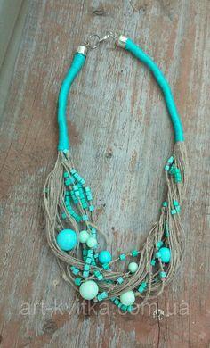 Льняное колье, колье из льняной нити с бирюзовыми бусинами, эко-колье. #linen necklace, eco-necklace, linen jewellery, eco-jewellery, rustic style, ethno necklace