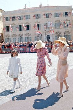 Princess Grace Kelly with her daughters Caroline and Stephanie, Monaco, 1974