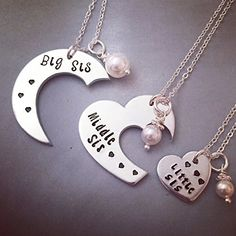Personalized Necklace Set Hand Stamped Jewelry – Big Sis, Middle Sis and Little Sis Sister Set 3 pieces – Hand Stamped Necklace Set Bff Necklaces, Best Friend Necklaces, Friend Jewelry, Sister Jewelry, Friendship Necklaces, Sister Gifts, Best Friend Gifts, Gifts For Friends, Sister Necklace