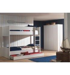 Lit superposé pour enfant avec tiroir-lit en blanc laqué MDF.