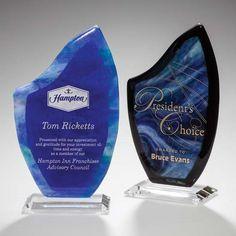 Accent Awards - Luminosity Glass Art Award in Blue or Black, $175.00 (http://www.accentawards.org/luminosity-glass-art-award-in-blue-or-black/)