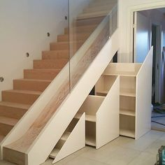 to is done here you can see also the drawers under Stairs Design drawers Staircase villalangheiane Staircase Storage, Stair Storage, Staircase Design, Eaves Storage, Home Room Design, Home Interior Design, Escalier Design, Tiny House Stairs, Modern Stairs