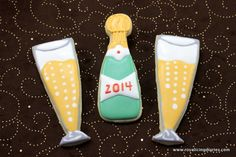Champagne for New Years. Decorated cookies