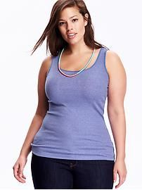 Fitted Rib-Knit Plus-Size Layering Tank