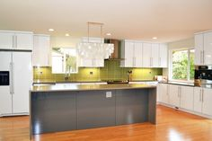 White Gloss, Gray Island, Green Backsplash