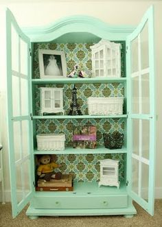Fabric background in armoire. This is such an amazing way to give tired furniture an EASY facelift. Not that this armoire is capable of being tired in any finish. Furniture Projects, Furniture Makeover, Diy Furniture, Upscale Furniture, Cool Diy Projects, Home Projects, Repurposed Furniture, Painted Furniture, Of Wallpaper