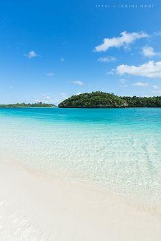 Tropical paradise beach in Japan's winter, Ishigaki Island. Kabira Bay Beach, Ishigaki Island, Okinawa, Japan