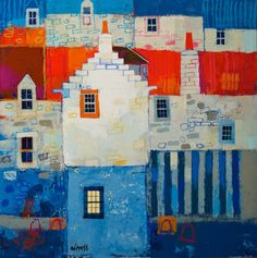 George Birrell Cool Artwork, Amazing Artwork, House Illustration, House Quilts, Naive Art, Tapestry Weaving, Art Pictures, Art Lessons, Home Art