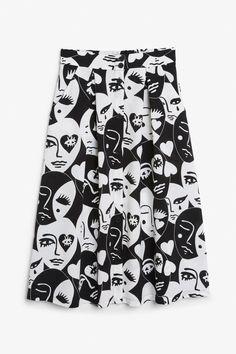 Front image of Monki midi skirt in black
