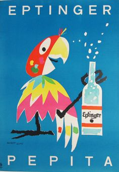 Eptinger Pepita original vintage Swiss poster from 1952 by artist Herbert Leupin. Large colorful parrot holding a bottle of lemonade on a blue background.