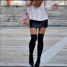 Black knee high socks Black knee high socks. 100% lambs wool. Can also be worn as boot socks scrunched down. Other