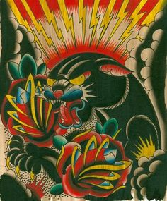 Old School Traditional American Tattoos | Pin Unique Traditional Old School Tattoos Panther Tattoo on Pinterest