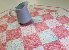 "Pink and White Valentine Quilted Table Topper, Springtime Shabby Cottage Chic Patchwork Octagon Table Mat, Reversible, 25""x25"" by VillageQuilts on Etsy"