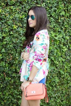 Floral Blazer and mirrored sunglasses