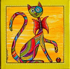 folk art cat painting by gail younts my art pinterest. Black Bedroom Furniture Sets. Home Design Ideas