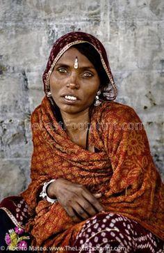 By Alberto Mateo, Travel Photographer. Portrait of Rajastani woman with jewels, Pushkar Camel Fair, Rajastan, India.