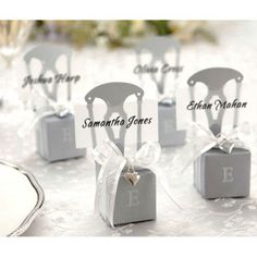 Silver chair wedding favor boxes. 50 pcs for $25.95 + free shipping!
