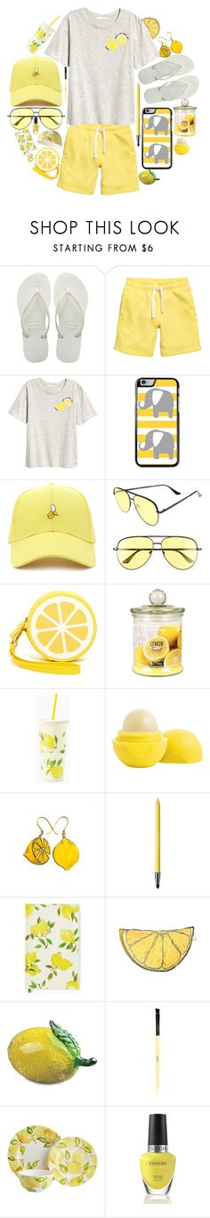 """""""when life gives you lemons..."""" by gatelyhawkins ❤ liked on Polyvore featuring Havaianas, Forever 21, Quay, Shiraleah, Kate Spade, Eos, Revlon, Silken Favours, Viz Glass and Bobbi Brown Cosmetics"""