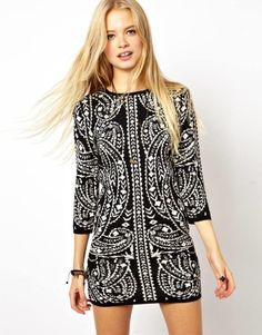 ASOS | ASOS Bodycon Knit Dress In Metallic Baroque Pattern at ASOS