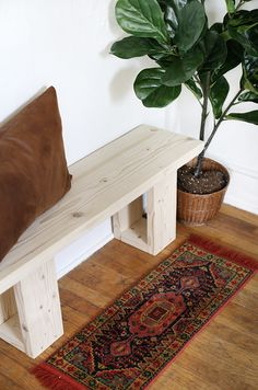 Simple DIY Wooden Bench - complete your space with this easy woodworking project! simple home diy DIY Simple Wooden Bench Diy Wood Bench, Wood Pallet Furniture, Diy Furniture, Small Wooden Bench, Reclaimed Wood Benches, Entryway Furniture, Furniture Stores, Furniture Projects, Furniture Plans