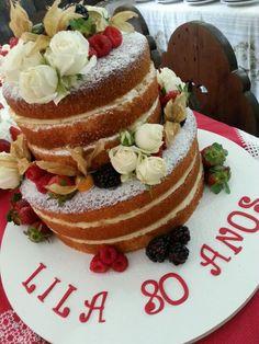 Vanilla berries and flowers naked cake