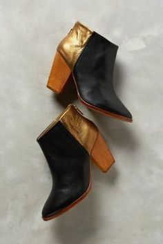 Nina Payne Halsey Booties Metallic Bronze & Black at Anthropologie $288