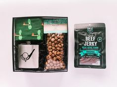 For the Golfer Gift Box Includes: Soft Beef Jerky from MHMT, Stainless Steel Flask, Beer Nuts from Going Nuts, Golf Perfectly Mis-Matched Socks from Friday Sock Co. ~ father's day gift // dad's day gift // for dad // thank you dad // gift ideas for dad // predesigned father's day gift box ~ #fathersdaygift #giftfordad #moderngifting Fathers Day Gifts, Gifts For Dad, Father's Day Breakfast, Thank You Dad, Curated Gift Boxes, Coffee Cookies, Gifts For Golfers, Dad Day, Beef Jerky