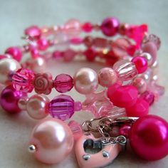 Glass and Acrylic Bead Memory Wire Bracelet with Charms
