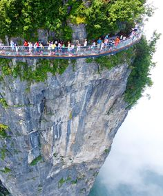 China Glass Walkway Terrifying | Are you brave enough to take on China's glass walkway? Before answering that, you may want to check out these photos of the terrifying path. #refinery29 http://www.refinery29.com/2016/08/120022/china-glass-walkway-terrifying-skywalk-tianmen