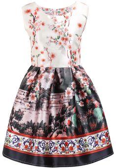 Pink Sleeveless Floral Walls Print Dress 24.33