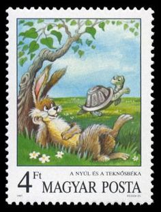Hungary Stamp - The Hare and the Tortoise (Aesop) -- Andersen's Fairy Tales 11 December 1987 Postage Stamp Art, Love Stamps, Illustrations, Mail Art, Stamp Collecting, Hungary, Fairy Tales, Postcards, Aesop's Fables