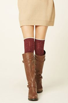 A pair of ribbed knit wool-blend over-the-knee socks featuring contrast trim and a marled design.