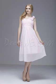 Dresswe.com SUPPLIES Pretty Flowers Sheath/Column One-Shoulder Knee-length Sasha's Bridesmaid Dress Junior Bridesmaid Dresses