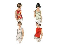 Four sleeveless blouse styles with neck variations - 1960 Original Complete Butterick Pattern #3286