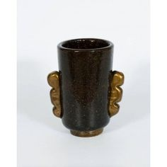 Vase in Murano Glass, Gold and Black