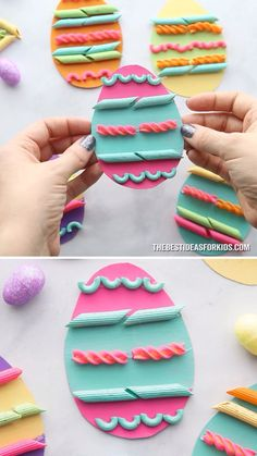 PASTA NOODLE EASTER EGGS - such a fun Easter craft for kids! An easy Easter activity for toddlers and preschoolers too! art for preschoolers Pasta Easter Eggs Easter Eggs Kids, Easter Crafts For Kids, Easter For Babies, Easter With Kids, Easter Crafts For Preschoolers, Easy Preschool Crafts, Preschooler Crafts, Easter Tree, Preschool Classroom