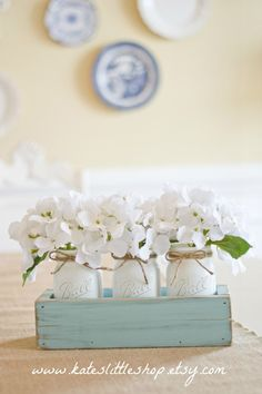 Rustic Planter Box with 3 Vintage Style Mason Jars. Vintage Blue Rustic Home Decor Table Centerpiece. Whitewash Stained Wedding Decor. Blue. by KatesLittleShop on Etsy https://www.etsy.com/listing/227619196/rustic-planter-box-with-3-vintage-style