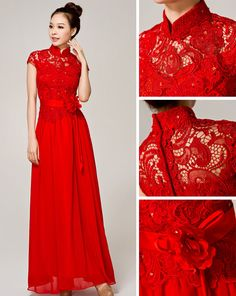 Maxi Lace Cheongsam / Qipao / Chinese Wedding Dress Red Frock, Oriental Dress, Cheongsam Dress, Royal Dresses, Red Gowns, Sweet 16 Dresses, Dress Tutorials, Traditional Dresses, Kebaya