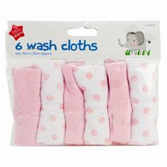 Baby Wash Cloths - 6 Pack
