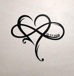 Metal Infinity Symbol with Heart and Custom Wedding Date Wall Decor Wedding Gift for Couple Personalized Anniversary Gift Heart Infinity - Tattoos - Tatouage Hawaiianisches Tattoo, Tatoo Henna, Tattoo Hals, Ankle Tattoo, Chest Tattoo, Tattoo Crown, Knot Tattoo, Tattoo Thigh, Tattoo Fonts