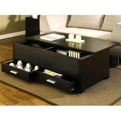 Garretson Contemporary Style Espresso Finish Storage Box Coffee Table