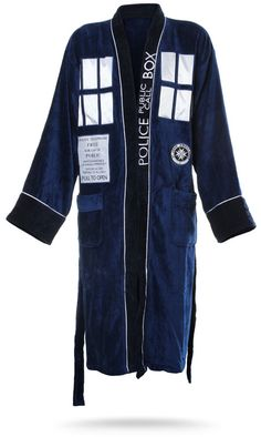 ThinkGeek :: Doctor Who Bathrobes. Because even a Time Lord needs a break!! This robe is so deliciously comfortable, it feels like getting hugged by the TARDIS! Not that getting hugged by a large wooden box that's actually a chameleon-circuited projection of an extra-dimensional starship is exactly comfortable….