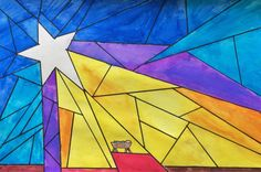 Nativity Star of Light Art Lesson for kids - Leah Newton Art Advent Art Projects, Christmas Art Projects, School Art Projects, Jesus In A Manger, Nativity Star, Christmas Art For Kids, Star Template, Color Crayons, Student Drawing