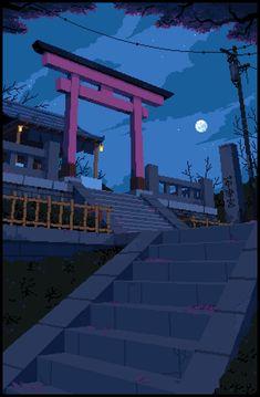Japanese Shrine by LennSan Cute Backgrounds, Aesthetic Backgrounds, Aesthetic Wallpapers, Cute Wallpapers, Pixel Gif, Arte 8 Bits, Pixel Art Background, Background Patterns, Japanese Shrine