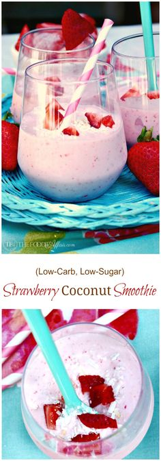 This Strawberry Coconut Smoothie is a low carb and low sugar drink with made with full-fat coconut milk, strawberries, vanilla extract, and a scoop of protein powder. This smoothie is an excellent breakfast, snack, pre or post workout beverage!