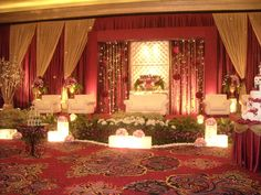 Wedding stage decoration. Red, red is everywhere...