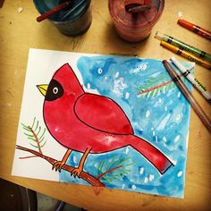 Winter Watercolor Cardinal - great project for kids